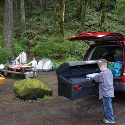 camping with a StowAway Hitch Cargo Carrier