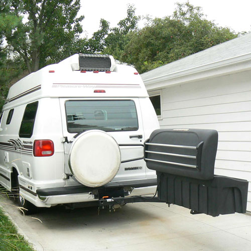 Hitch Cargo Carrier on a Class B Motor Home