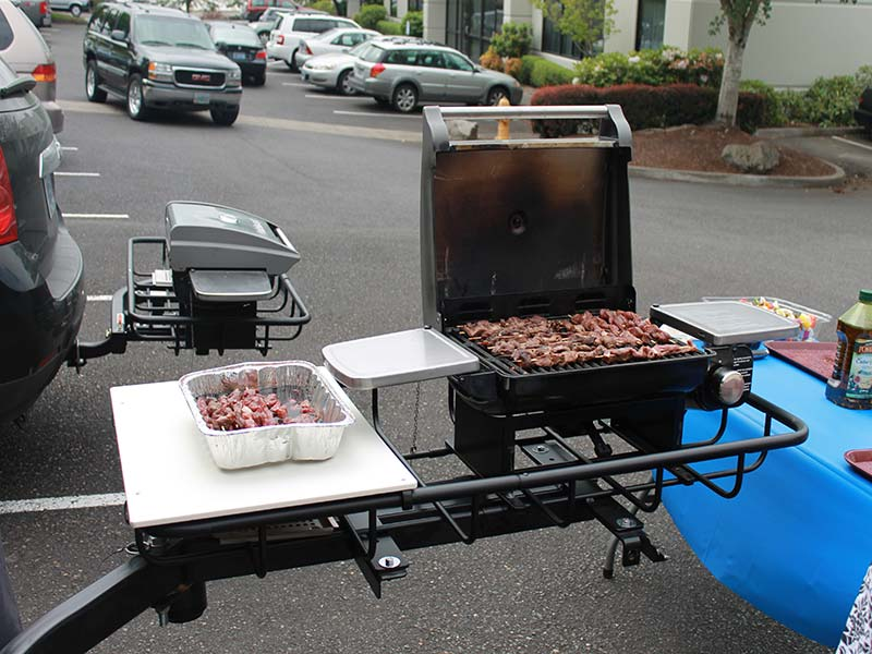StowAway Hitch Grill Station with meat skewers