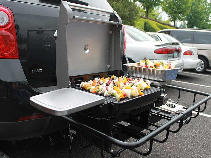 StowAway Hitch Grill Station with vegetable skewers