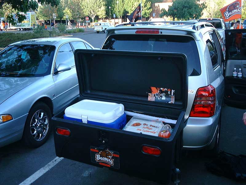 StowAway Standard Carrier holding Oregon State Beavers tailgating gear