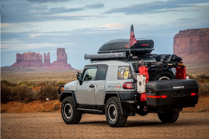Stowaway carrier box on a Jeep in the Grand Canyon