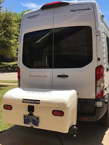 Ford Transit Van with StowAway Standard Hitch Cargo Carrier in Ivory