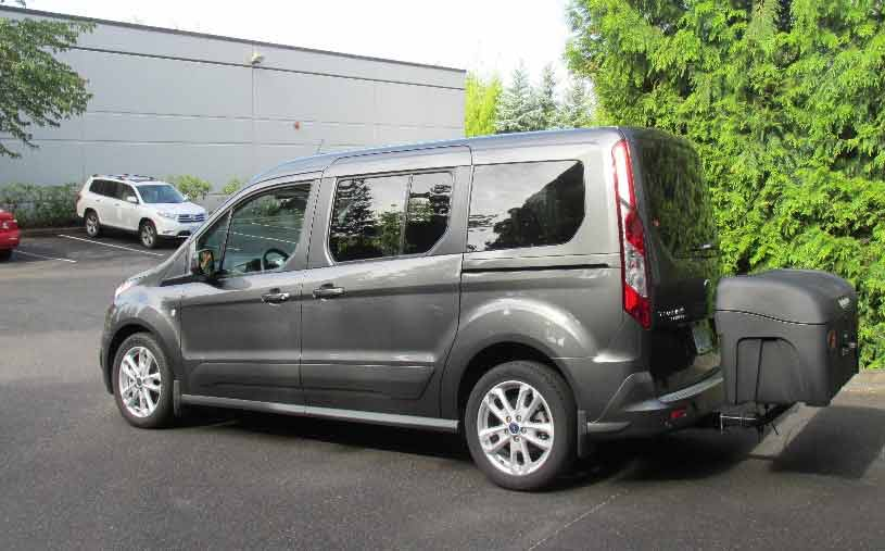 Side view of StowAway Standard Cargo Carrier mounted on Ford Transit Connect van