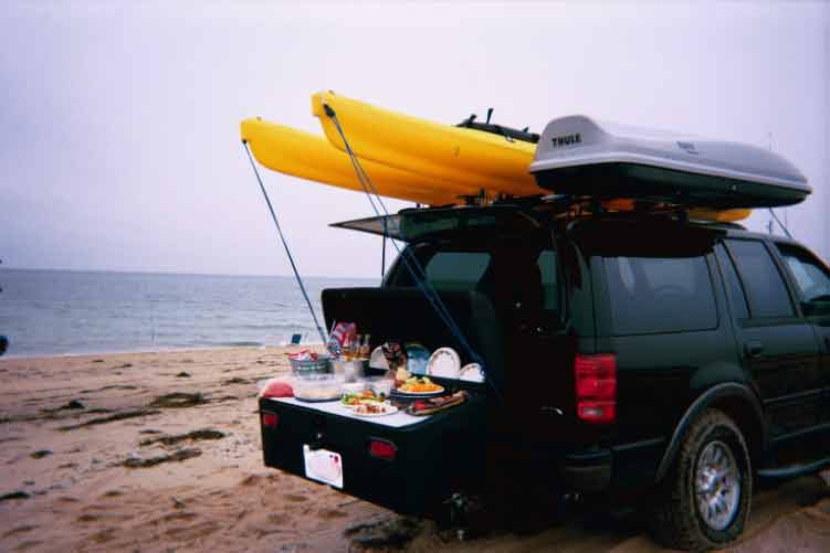 StowAway Standard Cargo Carrier with Buffet Board for a picnic at the beach