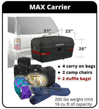 Graphic showing cargo capacity of StowAway MAX Cargo Carrier