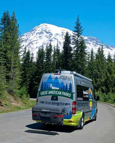 StowAway MAX Cargo Carrier on Sprinter van touring American parks