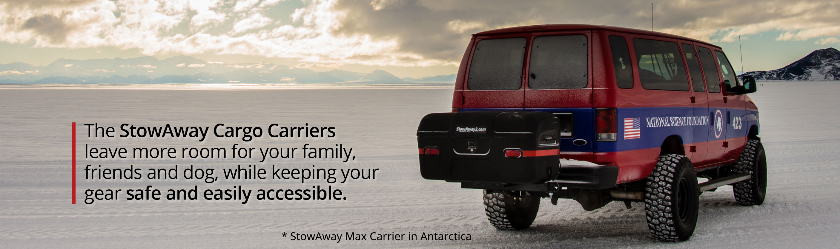 Stowaway Cargo Carriers leave more room for your family, friends and dog, while keeping your gear safe and easily accessible