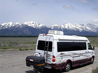 StowAway MAX Cargo Carrier on Leisure Travel van, Grand Teton National Park, Wyoming