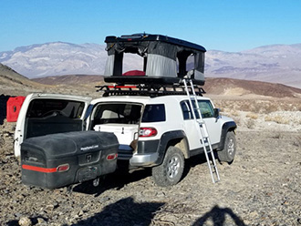 StowAway MAX Cargo Carrier on Toyota FJ Cruiser with rooftop tent
