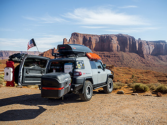 StowAway MAX Cargo Carrier on Toyota FJ Cruiser, Monument Valley, Utah