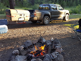 StowAway MAX Cargo Carrier on Toyota Tacoma at campsite