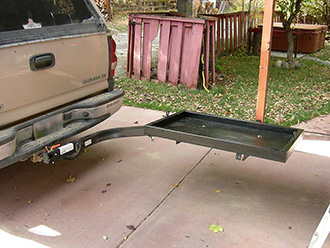 StowAway SwingAway Frame with custom platform on Chevy pickup