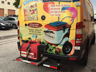StowAway SwingAway Frame carrying portable generator on ice cream truck in Miami, Florida