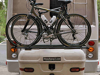 StowAway MAX Cargo Carrier on Leisure Travel Van with SportRack bike carrier, 2 bikes