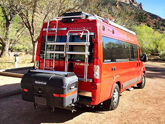 StowAway MAX Cargo Carrier on Winnebago Sprinter van with Fiamma Carry-Bike rack