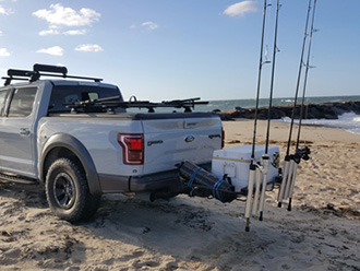 Ford pickup truck with StowAway Surf Fishing Rod Rack, tailgate closed