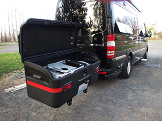 Airstream Interstate Sprinter van with StowAway MAX Cargo Carrier, swung out and open