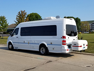 Mercedes Airstream Interstate Sprinter van with white StowAway MAX Cargo Carrier