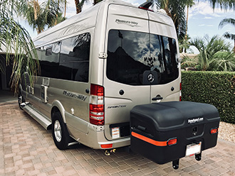 Mercedes Pleasure Way Sprinter van with StowAway MAX Cargo Carrier
