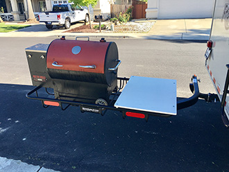 Rec Tec Grills Smoker on StowAway Cargo Rack with SwingAway Frame