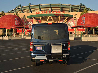 Nissan NV3500 with StowAway Hitch Grill Station at Angels Stadium in Anaheim, California