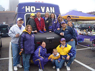 Minnesota Vikings fans with StowAway Standard Cargo Carrier