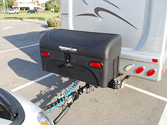 StowAway Standard Cargo Carrier on RV with dual hitch and hitch extender