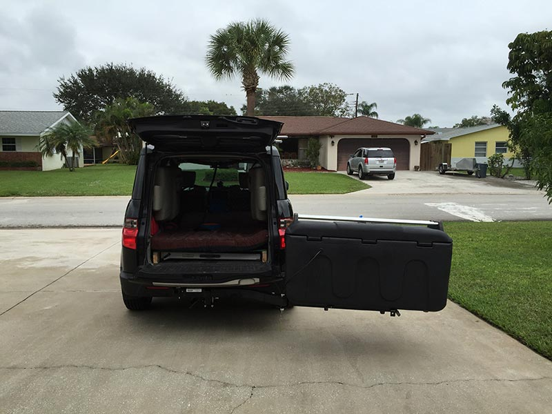 Honda Element with StowAway MAX Cargo Carrier and Lid Rack