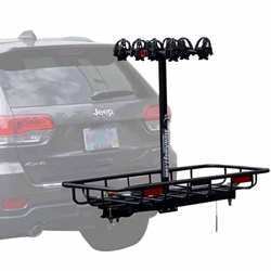 hitch bike cargo rack by Stowaway on SwingAway Frame mounted on Jeep