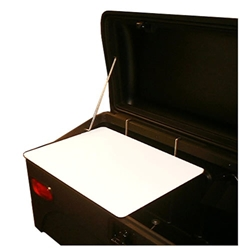 StowAway Lid Stay attaches to interior of cargo carrier to keep lid open at 90 degrees