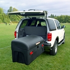 Standard Hitch Cargo Box swung out on patented SwingAway Frame for access to back of vehicle
