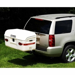 StowAway MAX Cargo Carrier in white mounted on SUV with SwingAway Frame