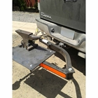 StowAway SwingAway Frame on Toyota Tundra with custom welded plate holds a farrier's anvil