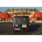 StowAway Hitch Grill Station mounted on a Nissan v3500 parked in front of Angel Stadium in Anaheim, California
