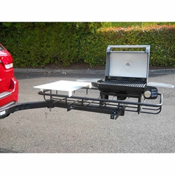 Trailer hitch grill on rack with SwingAway Frame